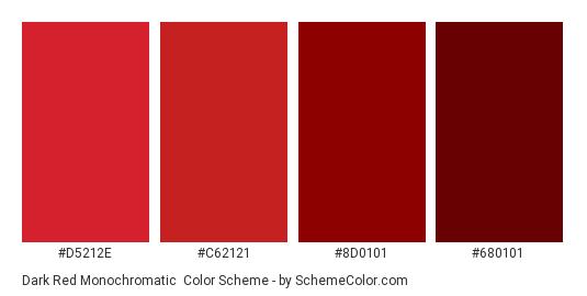 Dark Red Monochromatic - Color scheme palette thumbnail - #D5212E #C62121 #8D0101 #680101