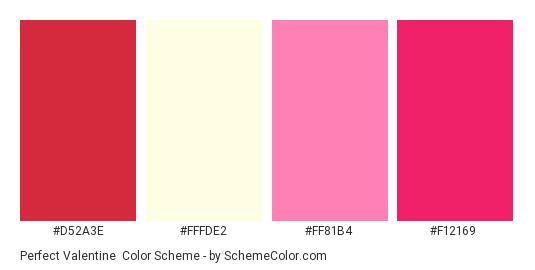 Perfect Valentine - Color scheme palette thumbnail - #D52A3E #FFFDE2 #FF81B4 #F12169