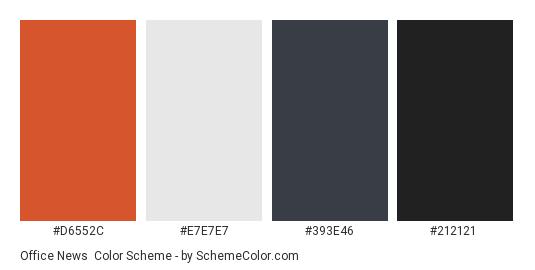 Office News - Color scheme palette thumbnail - #D6552C #E7E7E7 #393E46 #212121