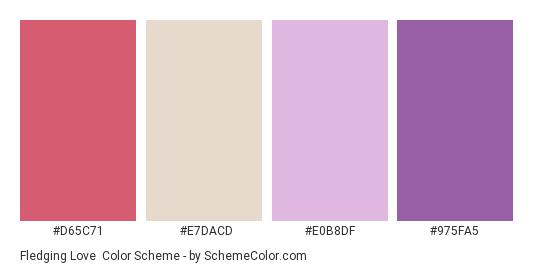 Fledging Love - Color scheme palette thumbnail - #D65C71 #E7DACD #E0B8DF #975FA5