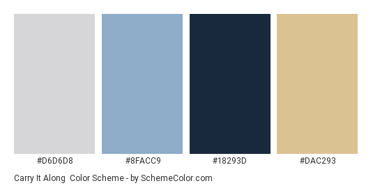 Carry It Along - Color scheme palette thumbnail - #D6D6D8 #8FACC9 #18293D #DAC293