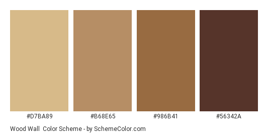Wood Wall Color Scheme Palette Thumbnail D7ba89 B68e65 986b41 56342a