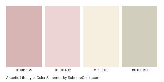 Ascetic Lifestyle - Color scheme palette thumbnail - #D8B5B5 #ECD4D2 #F6EEDF #D1CEBD