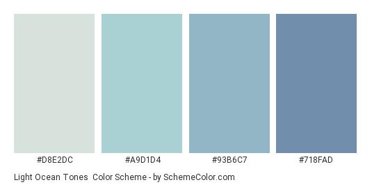 Light Ocean Tones - Color scheme palette thumbnail - #D8E2DC #A9D1D4 #93B6C7 #718FAD