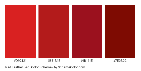 Red Leather Bag - Color scheme palette thumbnail - #D92121 #B31B1B #9B111E #7E0B02