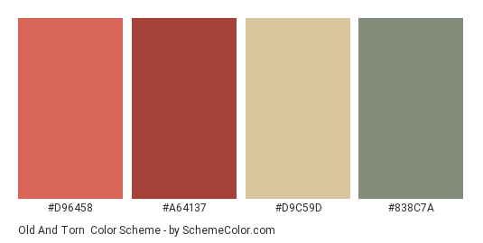 Old and Torn - Color scheme palette thumbnail - #D96458 #A64137 #D9C59D #838C7A
