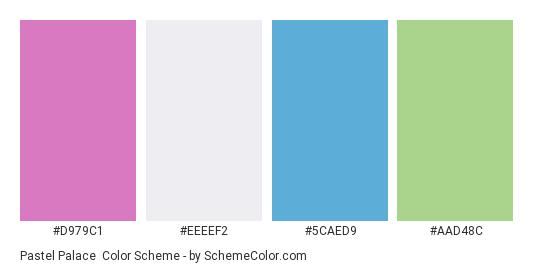 Pastel Palace - Color scheme palette thumbnail - #D979C1 #EEEEF2 #5CAED9 #AAD48C