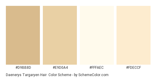Daenerys Targaryen Hair - Color scheme palette thumbnail - #D9BB8D #E9D0A4 #FFFAEC #FDECCF