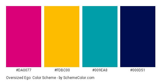 Oversized Ego - Color scheme palette thumbnail - #DA0077 #FDBC00 #009EA8 #000D51