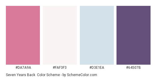 Seven Years Back - Color scheme palette thumbnail - #DA7A9A #FAF3F3 #D3E1EA #64507B