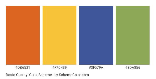 Basic Quality - Color scheme palette thumbnail - #DB6521 #F7C439 #3F579A #8DA856