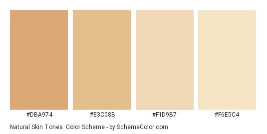 Natural Skin Tones - Color scheme palette thumbnail - #DBA974 #E3C08B #F1D9B7 #F6E5C4