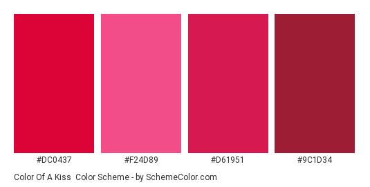 Color of a Kiss - Color scheme palette thumbnail - #DC0437 #F24D89 #D61951 #9C1D34