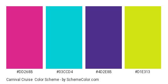 Carnival Cruise - Color scheme palette thumbnail - #DD268B #03CCD4 #4D2E8B #D1E313