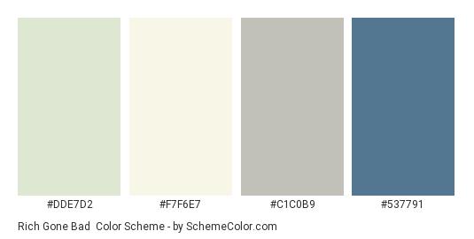 Rich Gone Bad - Color scheme palette thumbnail - #DDE7D2 #F7F6E7 #C1C0B9 #537791