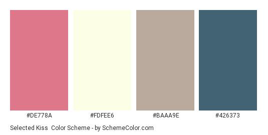 Selected Kiss - Color scheme palette thumbnail - #DE778A #FDFEE6 #BAAA9E #426373
