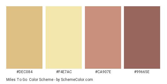 Miles to Go - Color scheme palette thumbnail - #DEC084 #F4E7AC #CA907E #99665E