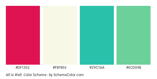 All is Well - Color scheme palette thumbnail - #DF1352 #F8F8E6 #29C1AA #6cd09b