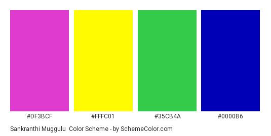 Sankranthi Muggulu - Color scheme palette thumbnail - #DF3BCF #FFFC01 #35CB4A #0000B6