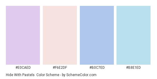 Hide with Pastels - Color scheme palette thumbnail - #E0CAED #F6E2DF #B0C7ED #B8E1ED