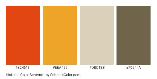 Historic - Color scheme palette thumbnail - #E24613 #EEA429 #DBD1B8 #70644A
