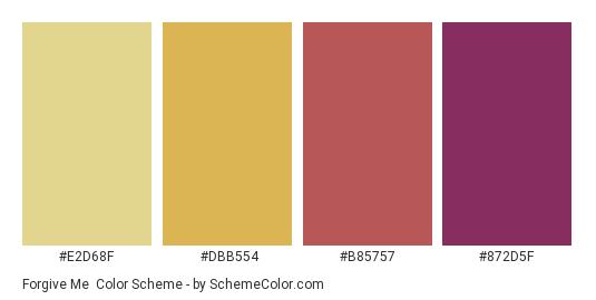 Forgive Me - Color scheme palette thumbnail - #E2D68F #DBB554 #B85757 #872D5F