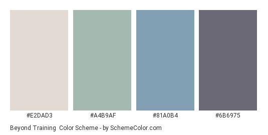 Beyond Training - Color scheme palette thumbnail - #E2DAD3 #a4b9af #81a0b4 #6b6975