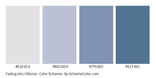 Fading into Oblivion - Color scheme palette thumbnail - #E2E2E4 #BBC0D4 #7F93B5 #527492