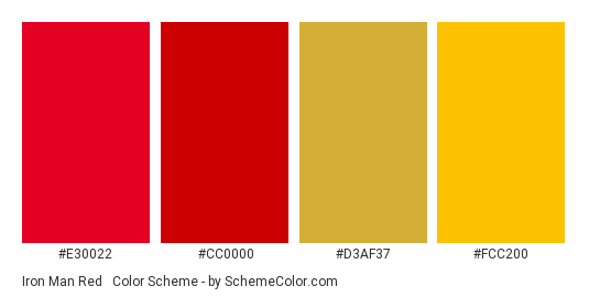 Iron Man Red & Gold - Color scheme palette thumbnail - #E30022 #CC0000 #D3AF37 #FCC200