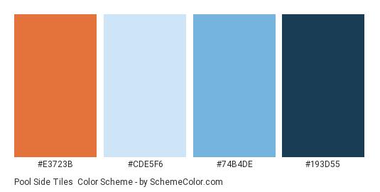Pool Side Tiles - Color scheme palette thumbnail - #E3723B #CDE5F6 #74B4DE #193D55