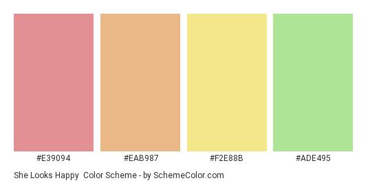 She Looks Happy - Color scheme palette thumbnail - #E39094 #EAB987 #F2E88B #ADE495