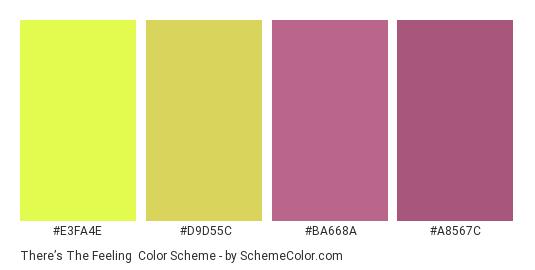 There's The Feeling - Color scheme palette thumbnail - #E3FA4E #D9D55C #BA668A #A8567C