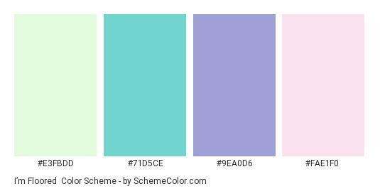 I'm Floored - Color scheme palette thumbnail - #E3FBDD #71D5CE #9EA0D6 #FAE1F0