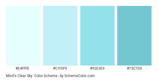 Mind S Clear Sky Color Scheme Palette Thumbnail E4fffe C1f0f9 92e3e9