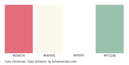 Cute Christmas - Color scheme palette thumbnail - #E56E7A #FAF9EB #FFFFFF #97C2AE