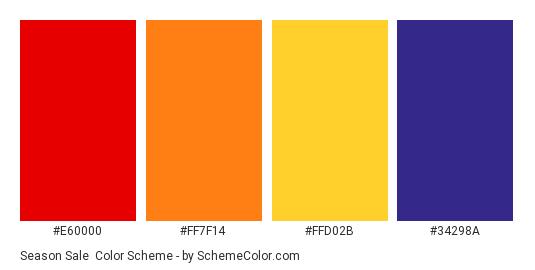 Season Sale - Color scheme palette thumbnail - #E60000 #FF7F14 #FFD02B #34298A