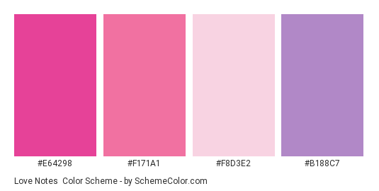 Love Notes - Color scheme palette thumbnail - #E64298 #F171A1 #F8D3E2 #B188C7