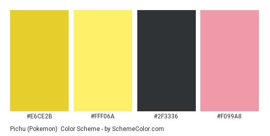 Pichu (Pokemon) - Color scheme palette thumbnail - #E6CE2B #FFF06A #2F3336 #F099A8