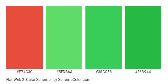 Flat Web 2 - Color scheme palette thumbnail - #E74C3C #5FDB6A #38CC58 #26B944