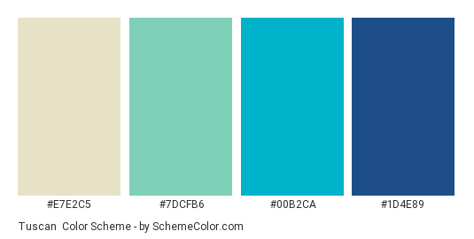 Tuscan - Color scheme palette thumbnail - #E7E2C5 #7dcfb6 #00b2ca #1d4e89