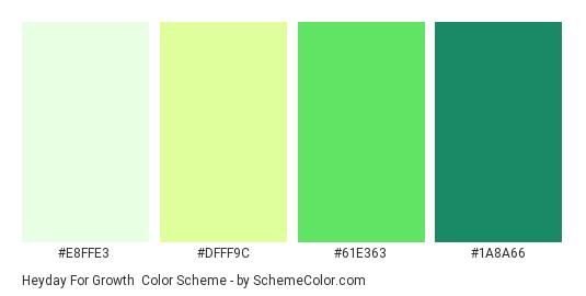 Heyday for Growth - Color scheme palette thumbnail - #E8FFE3 #DFFF9C #61E363 #1A8A66