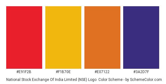 National Stock Exchange of India Limited (NSE) Logo - Color scheme palette thumbnail - #E91F2B #F1B70E #E07122 #3A2D7F