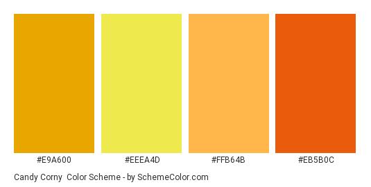 Candy Corny - Color scheme palette thumbnail - #E9A600 #EEEA4D #FFB64B #EB5B0C