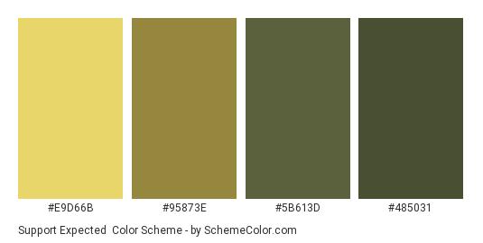 Support Expected - Color scheme palette thumbnail - #E9D66B #95873E #5B613D #485031