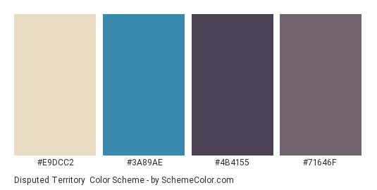 Disputed Territory - Color scheme palette thumbnail - #E9DCC2 #3A89AE #4B4155 #71646F
