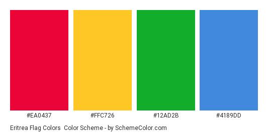 Eritrea Flag Colors - Color scheme palette thumbnail - #EA0437 #FFC726 #12AD2B #4189DD