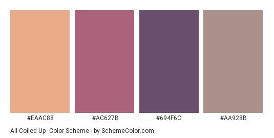 All Coiled Up - Color scheme palette thumbnail - #EAAC88 #AC627B #694F6C #AA928B