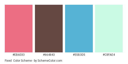 Fixed - Color scheme palette thumbnail - #EB6E83 #664843 #55B3D5 #C8FAE4