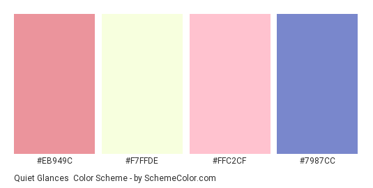 Quiet Glances - Color scheme palette thumbnail - #EB949C #F7FFDE #FFC2CF #7987CC