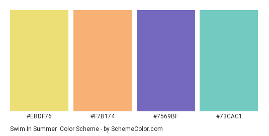Swim in Summer - Color scheme palette thumbnail - #EBDF76 #F7B174 #7569BF #73CAC1